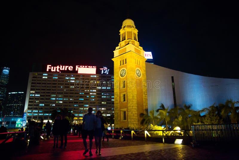 尖沙咀钟楼香港在晚上 免版税图库摄影