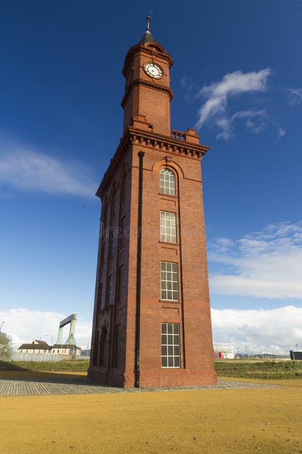 尖沙咀钟楼,米德尔斯布勒船坞Clocktower 英国,团结的国王 免版税库存图片