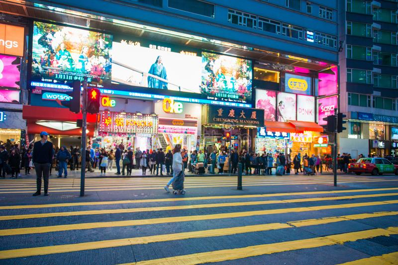 尖沙咀,香港- 2018年1月10日:人群人等待