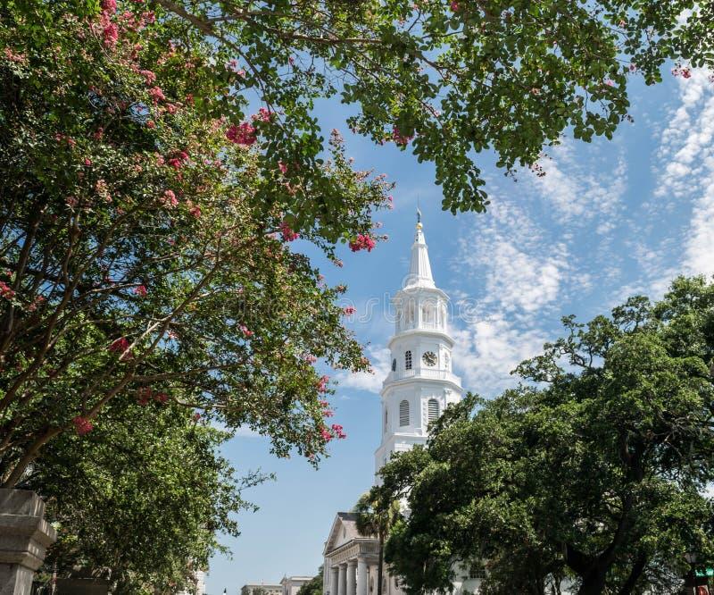 尖顶在圣城-查尔斯顿,南卡罗来纳 库存照片