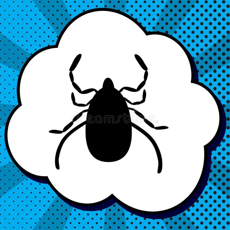 尘土小蜘蛛标志例证 向量 在泡影的黑象在蓝色 库存例证