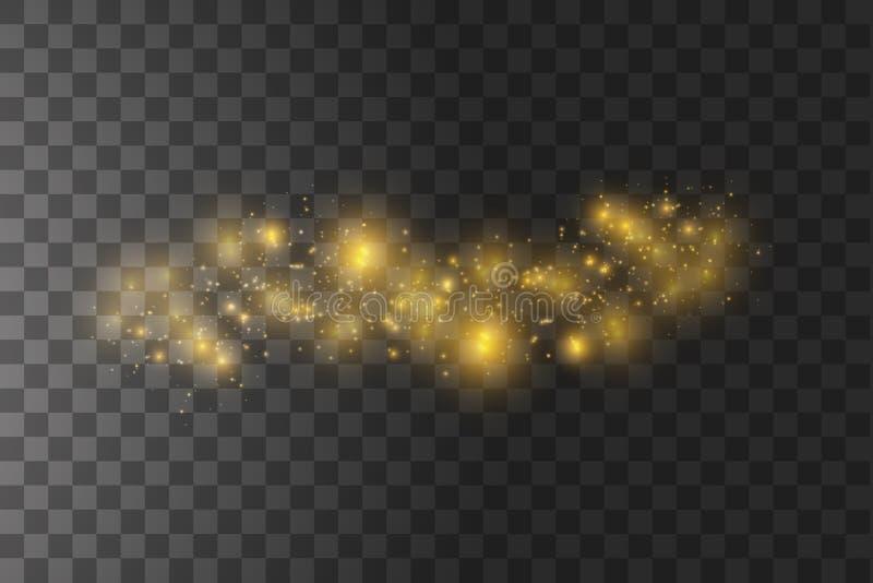 尘土是黄色的 黄色发火花,并且金黄星发光与特别光 传染媒介在透明背景闪耀 向量例证