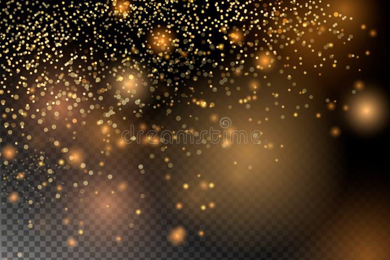 尘土火花和金黄星发光与特别光 库存例证