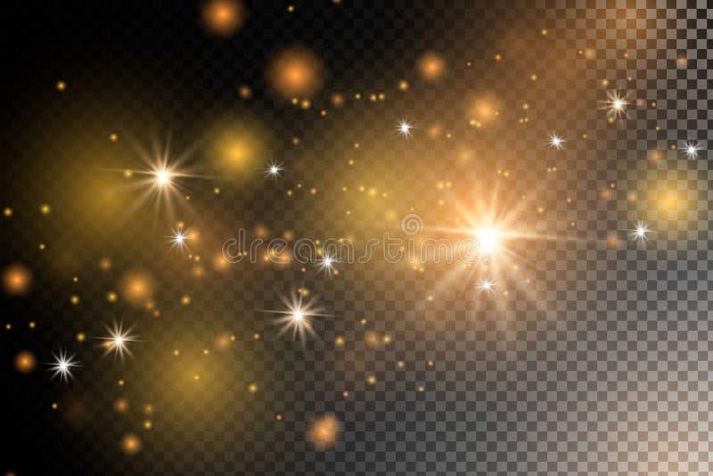 尘土火花和金黄星发光与特别光 皇族释放例证