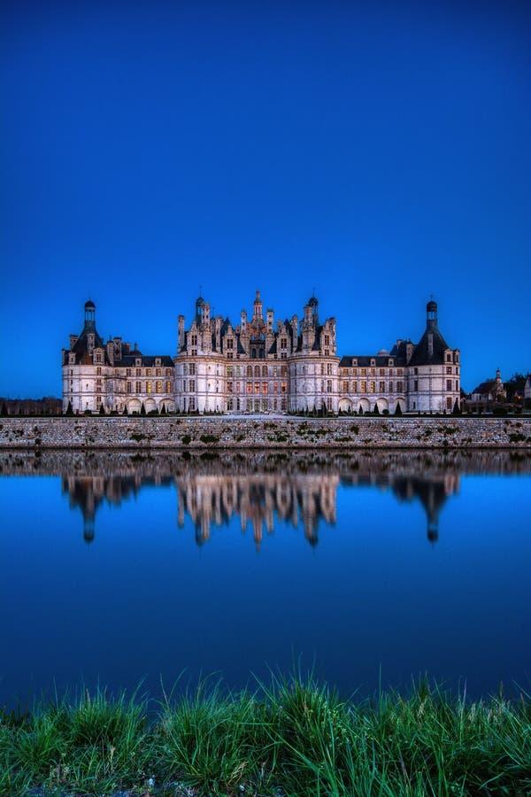 尚博尔城堡在晚上,卢瓦尔河,法国的城堡 图库摄影