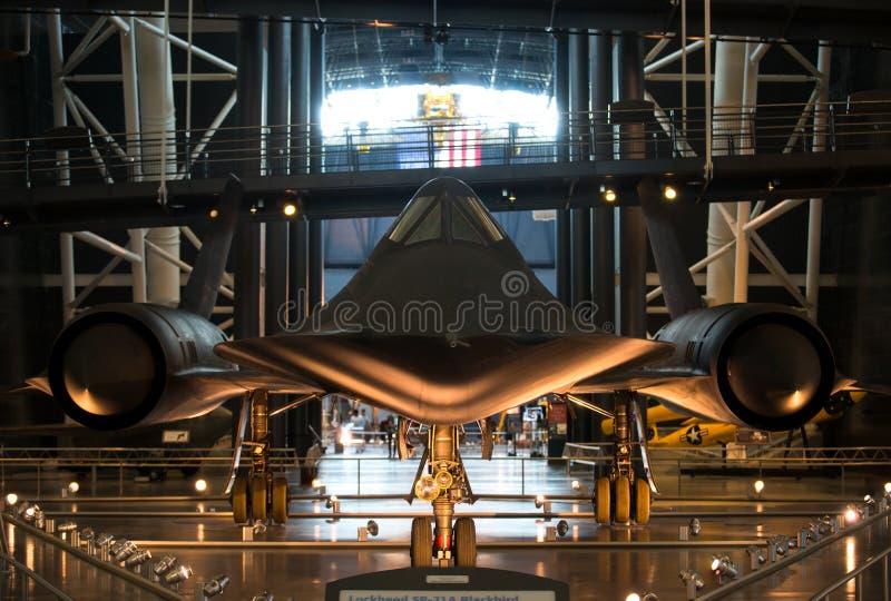尚蒂伊VA - 2016年5月9日:在乌德沃尔朦胧的M的SR-71A黑鹂 免版税库存照片