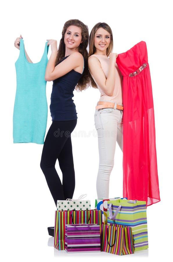 尝试新的衣物的妇女 库存照片