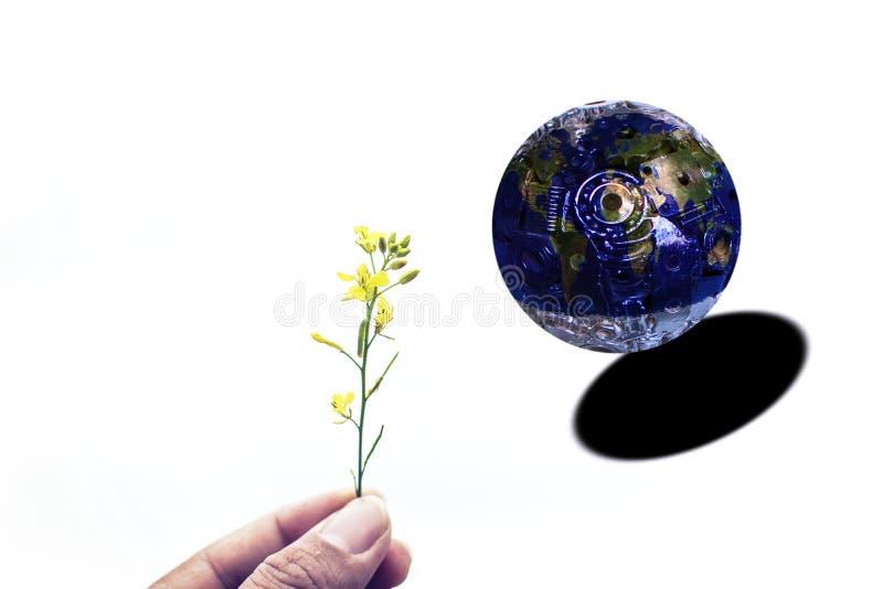尝试植物的手给世界 与的铁的世界 库存照片