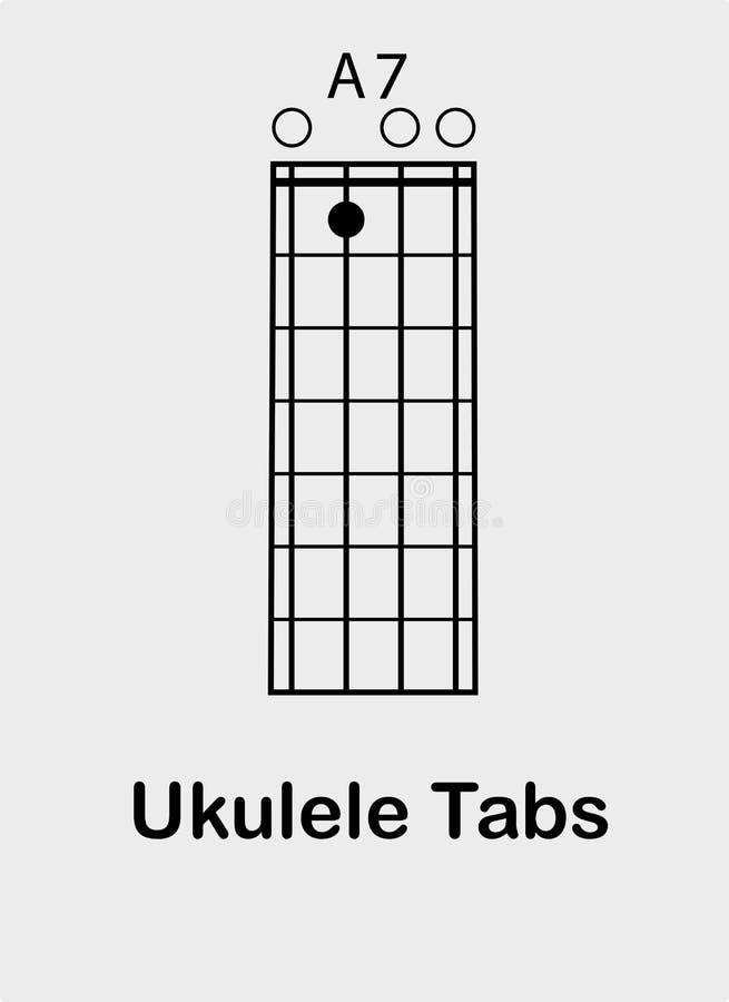 尤克里里琴弦第七 向量例证