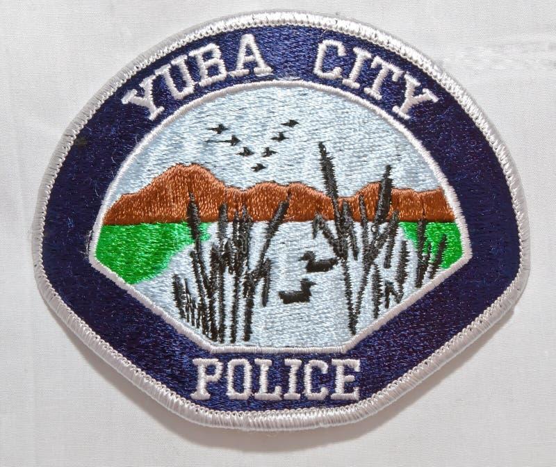 尤巴城警察局的肩章在加利福尼亚 库存图片