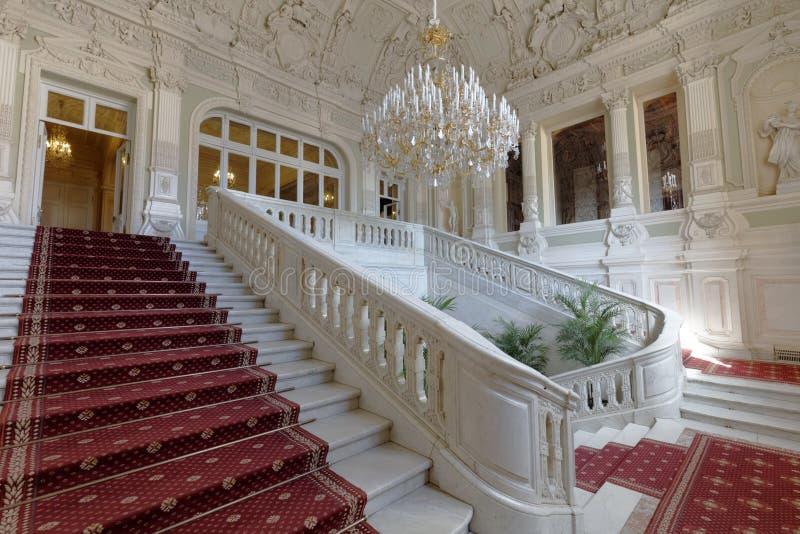 尤苏波夫宫殿,圣彼德堡,俄罗斯主要楼梯  库存图片