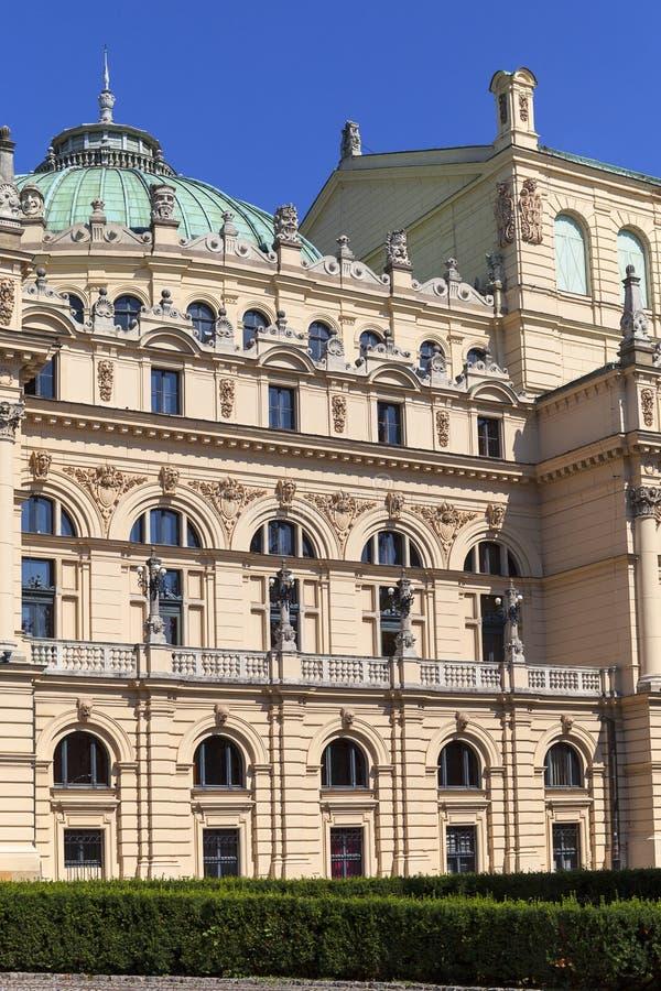 尤里乌什Slowacki剧院,19世纪折衷大厦,克拉科夫,波兰 图库摄影