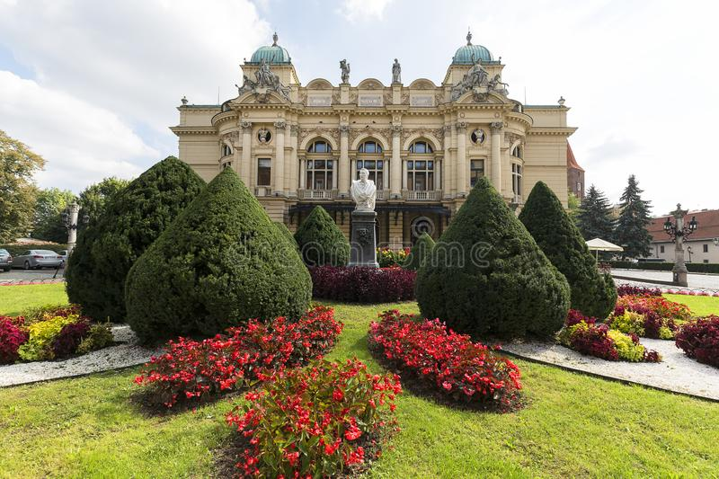 尤里乌什Slowacki剧院,19世纪折衷大厦,克拉科夫 免版税库存图片
