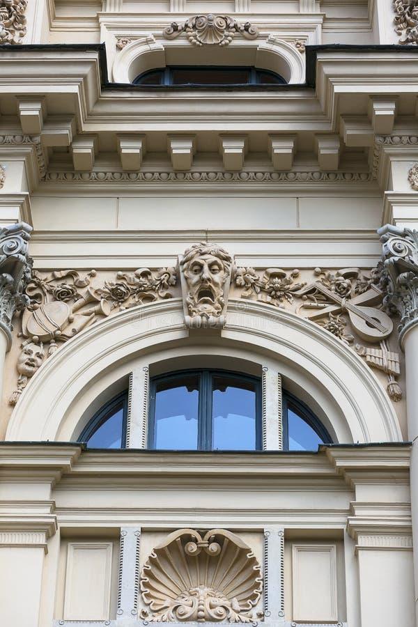 尤里乌什Slowacki剧院,19世纪折衷大厦,门面,克拉科夫,波兰细节  免版税图库摄影