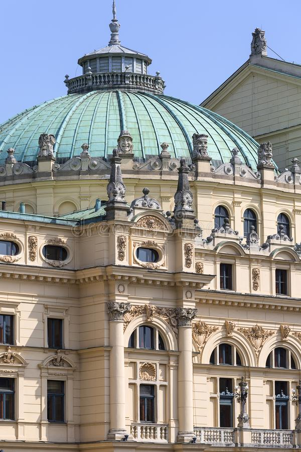 尤里乌什Slowacki剧院,19世纪折衷大厦,门面,克拉科夫,波兰细节  库存照片