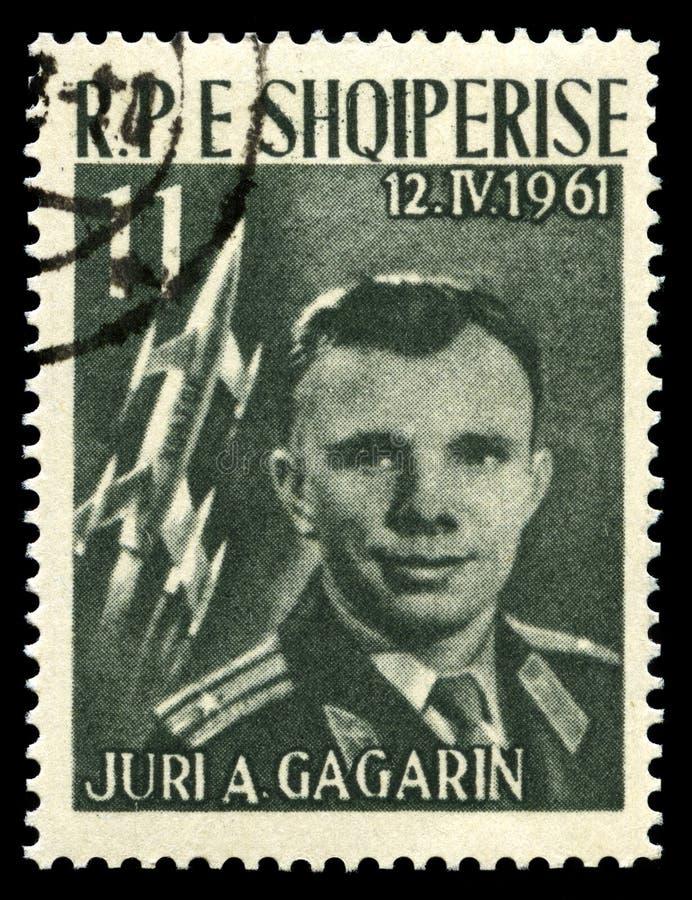 尤里・加加林葡萄酒邮票 库存照片