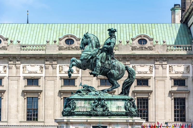 尤金,维也纳,奥地利王子雕象在霍夫堡宫前面的 免版税图库摄影