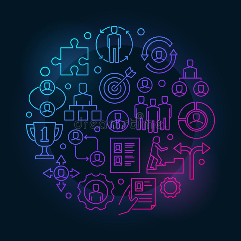 就业和补充五颜六色的例证 向量例证