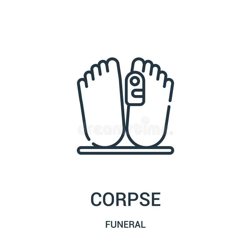 尸体从葬礼收藏的象传染媒介 稀薄的线尸体概述象传染媒介例证 线性标志为在网的使用和 皇族释放例证