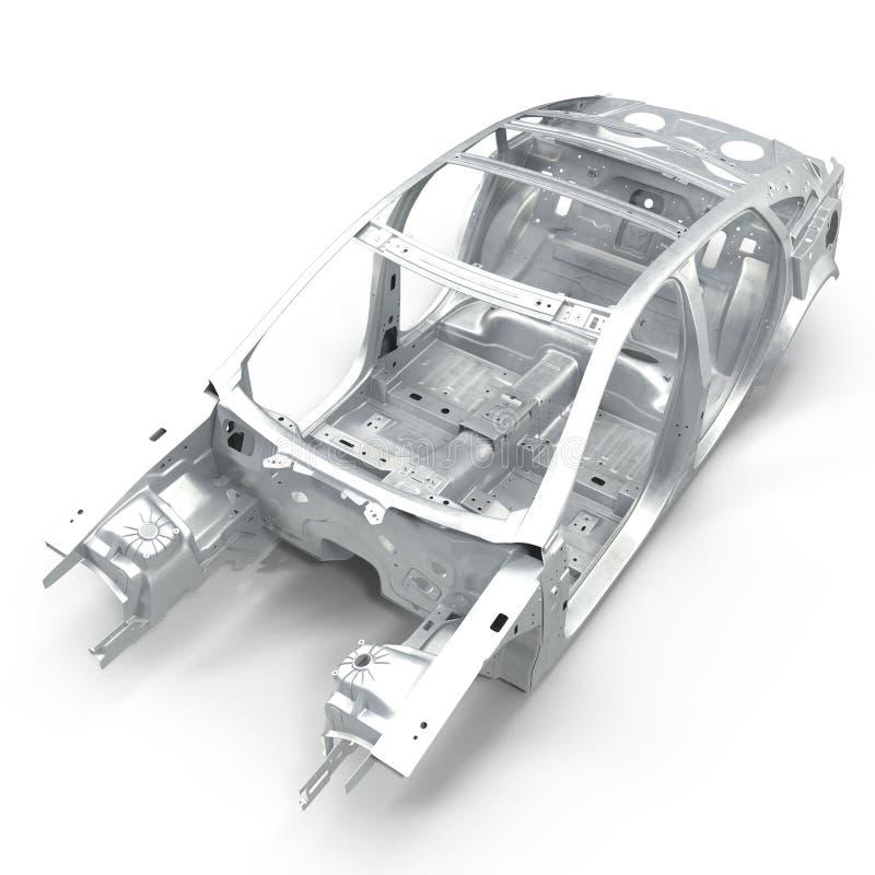 尸体af在白色的一辆轿车汽车 从的角度 3d例证 库存例证