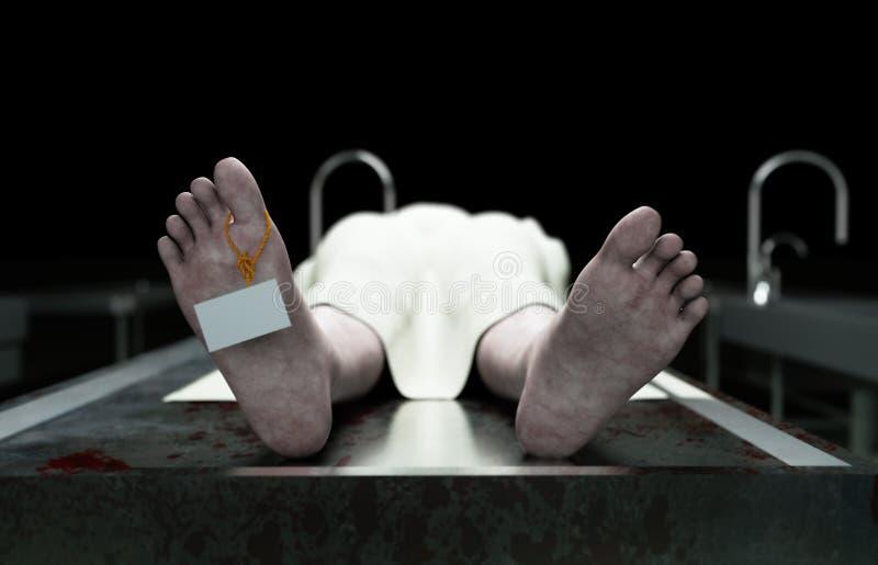 死尸,死的男性身体在钢桌上的太平间 尸体 验尸概念 3d翻译 向量例证