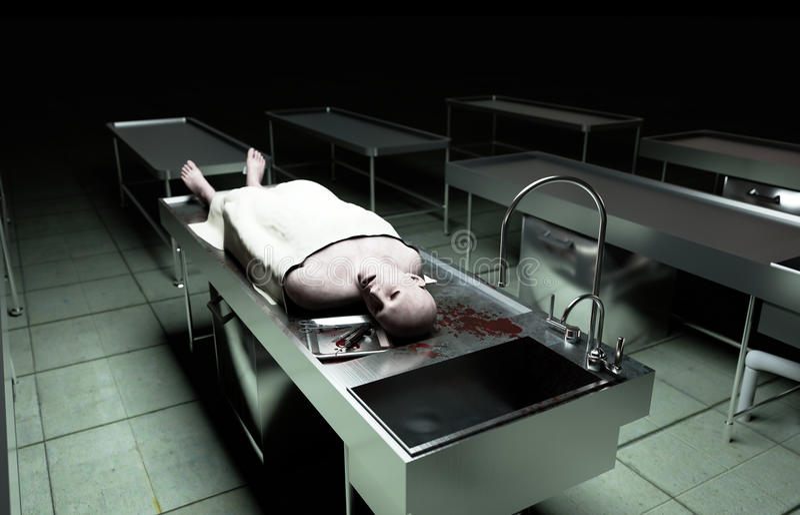 死尸,死的男性身体在钢桌上的太平间 尸体 验尸概念 3d翻译 皇族释放例证