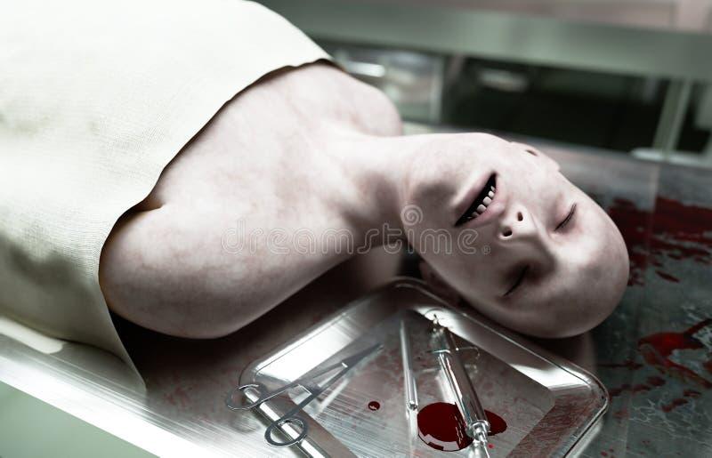 死尸,死的男性身体在钢桌上的太平间 尸体 验尸概念 3d翻译 库存例证