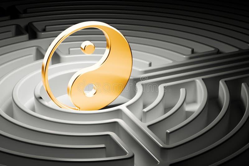 尹和杨在迷宫的中心,方式对和谐概念 3d 库存例证