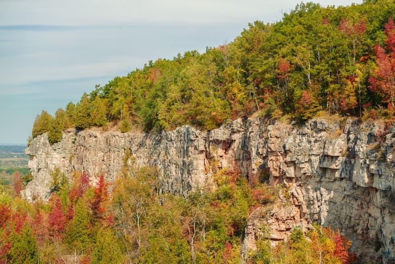尼亚加拉悬崖绿化区美好的华美的自然秋天背景  库存图片