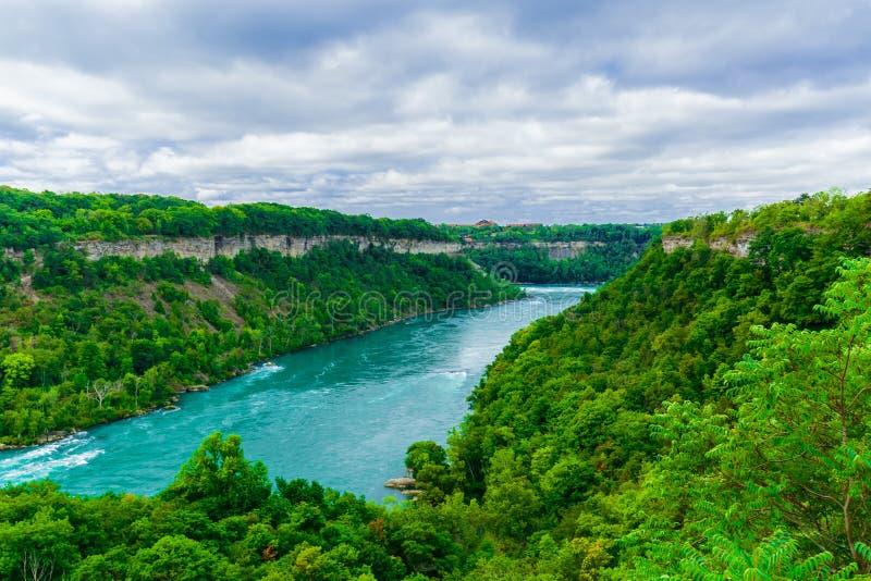 尼亚加拉瀑布河出色的意见有水洪流的突然改变方向 库存图片