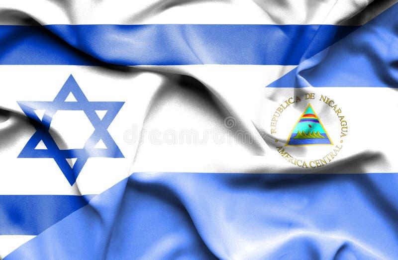 尼加拉瓜和以色列的挥动的旗子 皇族释放例证