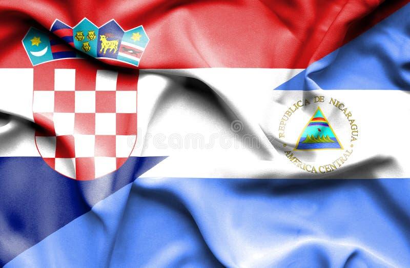 尼加拉瓜和克罗地亚的挥动的旗子 皇族释放例证