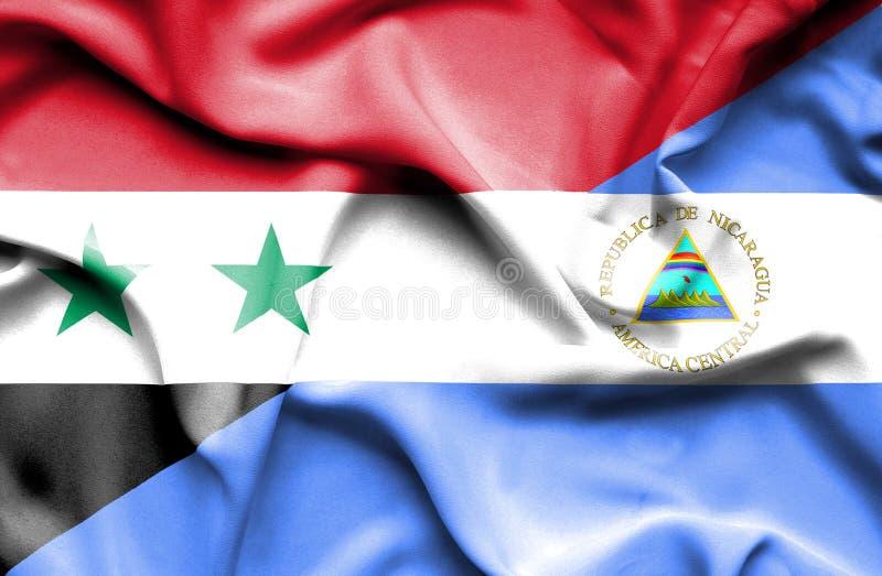 尼加拉瓜和叙利亚的挥动的旗子 皇族释放例证