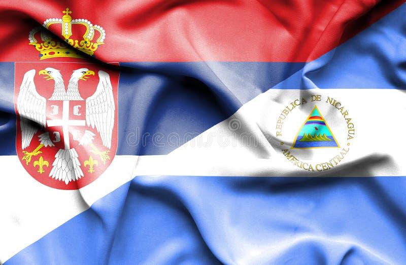 尼加拉瓜和塞尔维亚的挥动的旗子 皇族释放例证