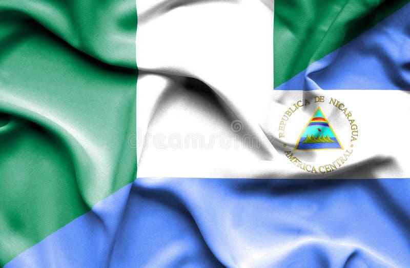 尼加拉瓜和尼日利亚的挥动的旗子 皇族释放例证