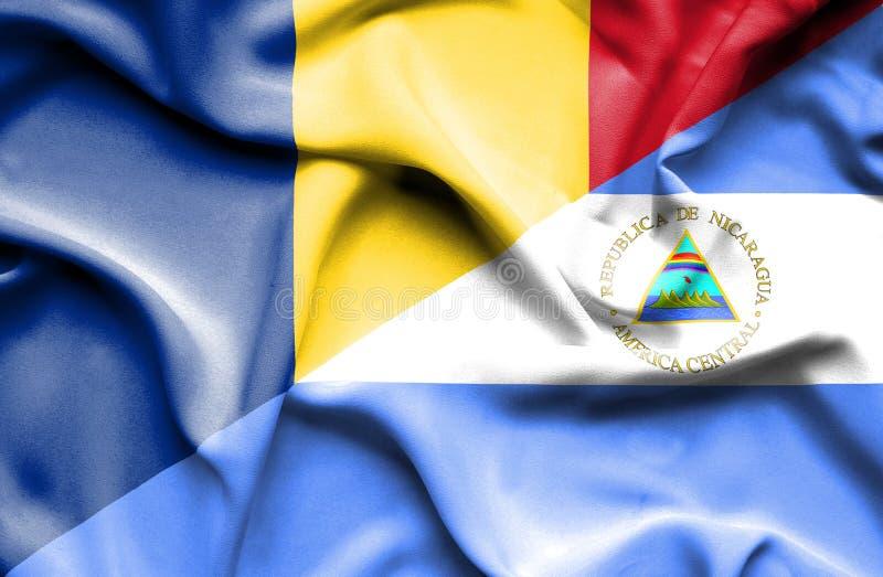尼加拉瓜和罗马尼亚的挥动的旗子 库存例证