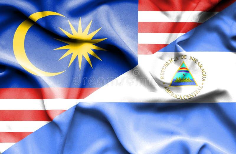 尼加拉瓜和马来西亚的挥动的旗子 向量例证