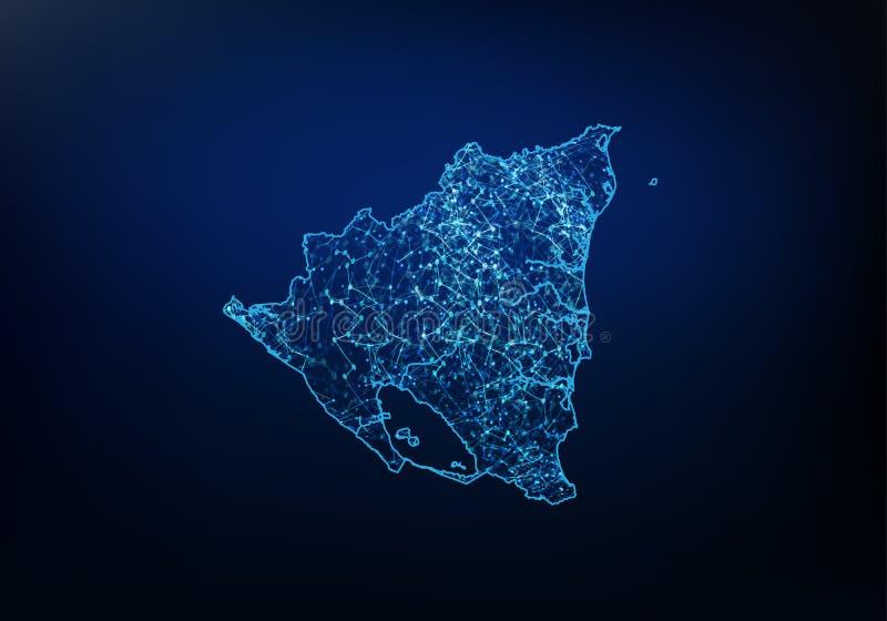 尼加拉瓜地图网络、互联网和全球性连接概念,导线框架3D滤网多角形网络线,设计摘要  向量例证