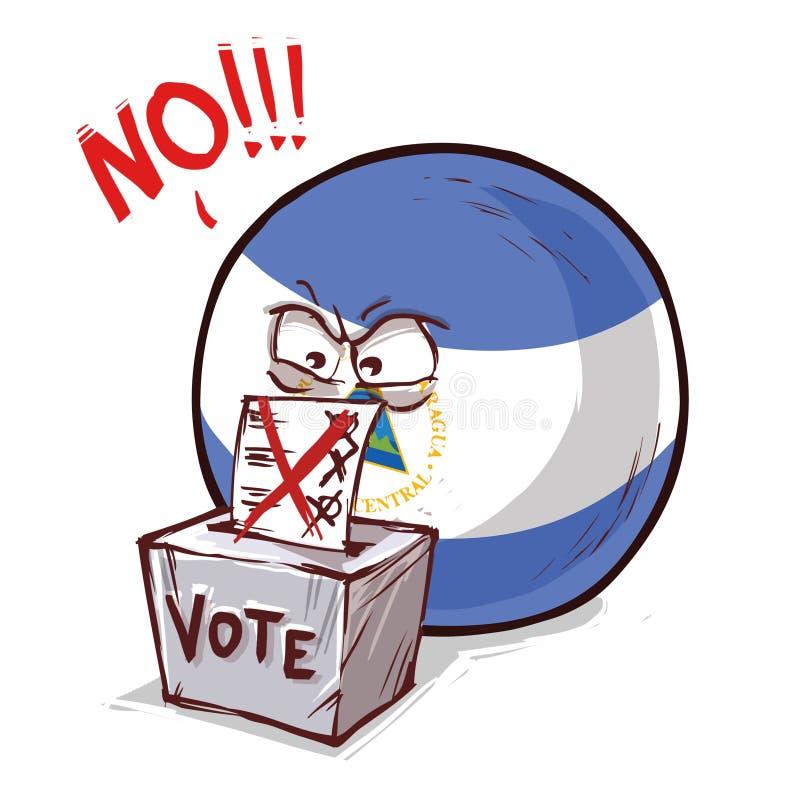 尼加拉瓜投反对票国家的球 向量例证