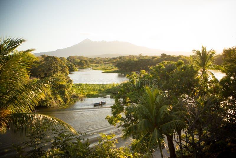 尼加拉瓜湖和火山与棕榈树 图库摄影