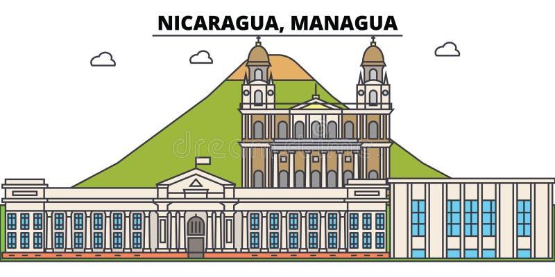 尼加拉瓜,马那瓜概述城市地平线,线性例证,横幅,旅行地标,大厦剪影,传染媒介 向量例证