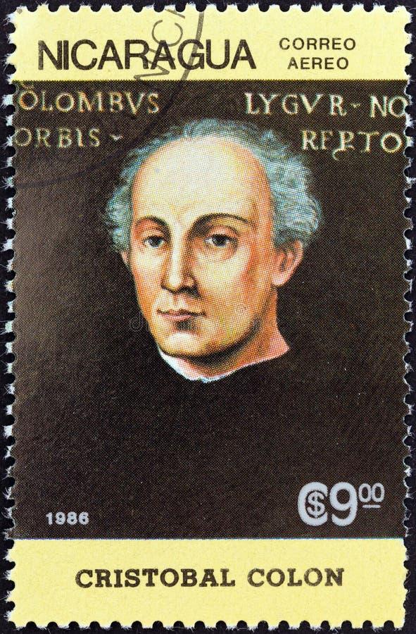尼加拉瓜-大约1986年:在尼加拉瓜展示打印的邮票克里斯托弗・哥伦布,大约1986年 库存图片