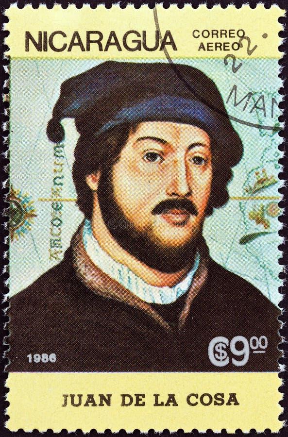 尼加拉瓜-大约1986年:在尼加拉瓜展示打印的邮票胡安・德・拉・科萨,大约1986年 库存图片
