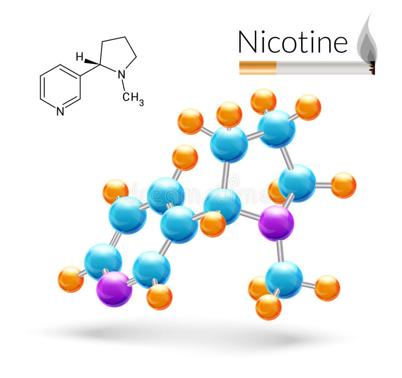 尼古丁分子3d 库存例证