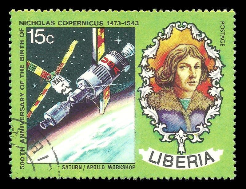 尼古拉斯哥白尼,阿波罗土星 免版税库存照片
