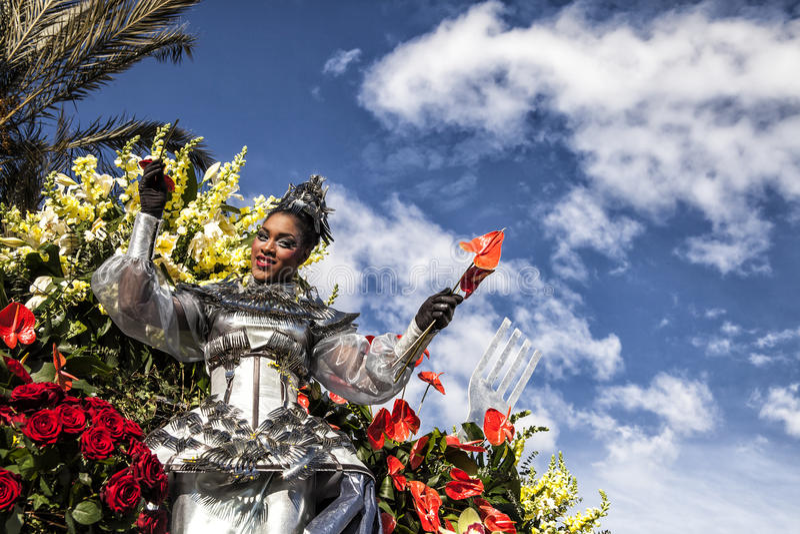 尼斯著名狂欢节,花`争斗 有红色花的一位妇女艺人 库存照片