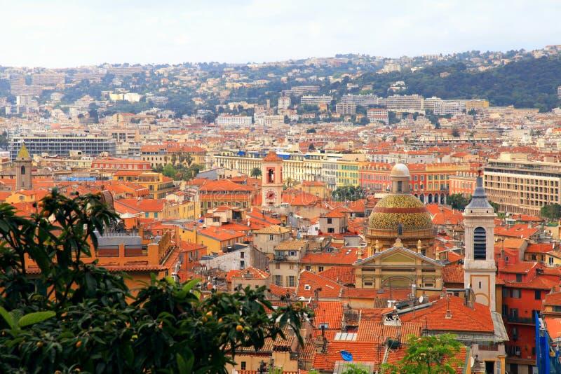 尼斯(法国),看法瓦屋顶从上面 免版税库存照片