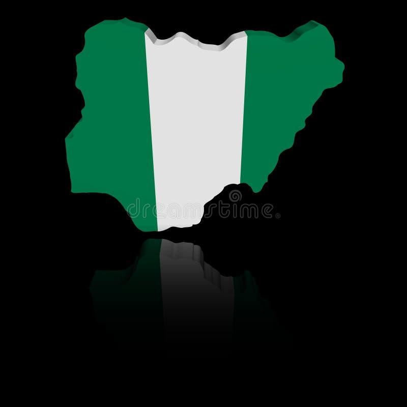 尼日利亚与反射例证的地图旗子 库存例证