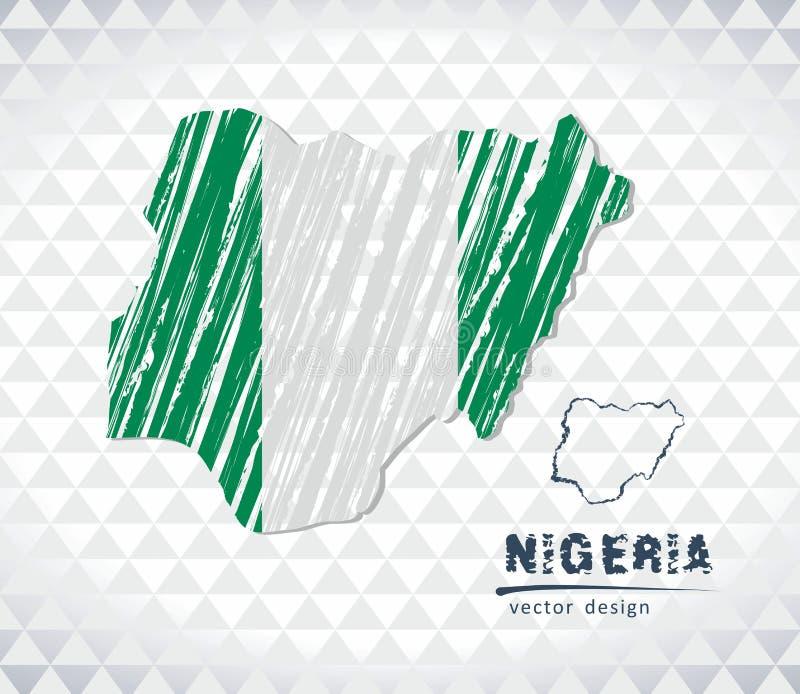 尼日利亚与在白色背景隔绝的旗子里面的传染媒介地图 剪影白垩手拉的例证 库存例证