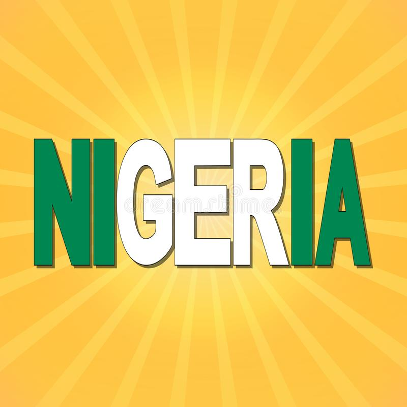 尼日利亚与镶有钻石的旭日形首饰的例证的旗子文本 皇族释放例证